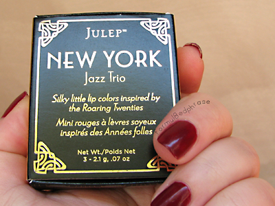 New York Jazz lip trio. My nails, by the way, are polished Zoya Riley in these photos. Not part of the collection, but pretty 1920s jazz, I think.